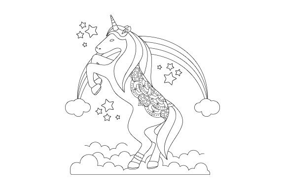 Unicorn- Coloring Book Design Niños Archivo de Corte Craft Por Creative Fabrica Crafts