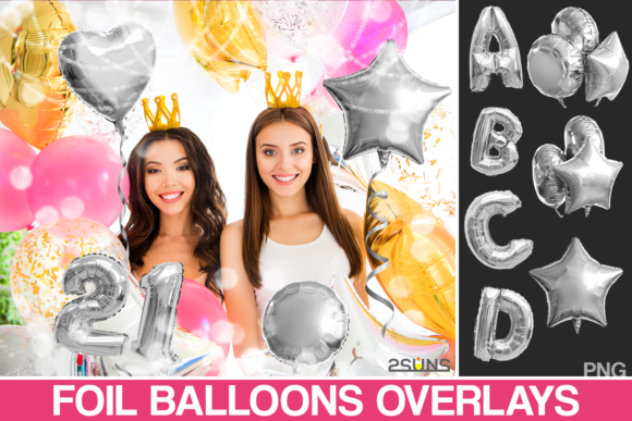 45 Foil Number Alphabet Balloon Overlay Graphic Layer Styles By 2SUNSoverlays