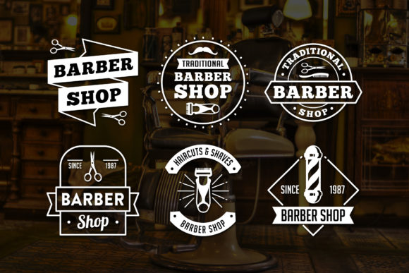 Print on Demand: 6 Barber Badges Grafik Logos von Tosca Digital