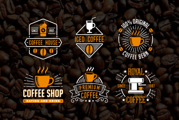 Print on Demand: 6 Coffee Badges Grafik Logos von Tosca Digital