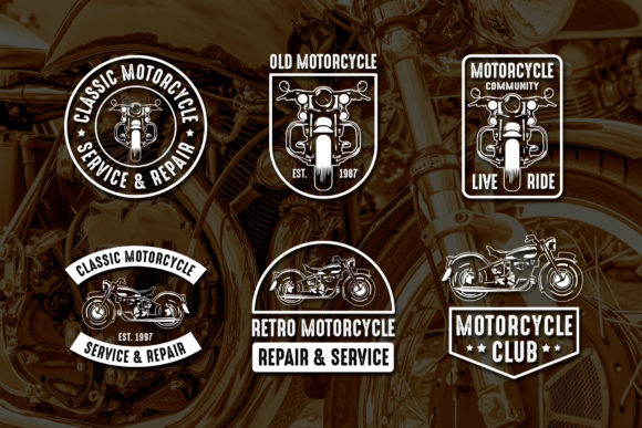 Print on Demand: 6 Motorcycle Badges Graphic Logos By Tosca Digital