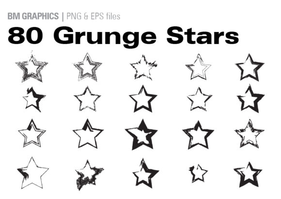 Print on Demand: 80 Grunge Stars Graphic Illustrations By GraphicsBam Fonts