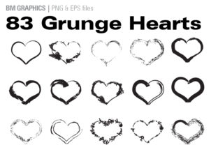 Print on Demand: 83 Grunge Hearts Graphic Illustrations By GraphicsBam Fonts