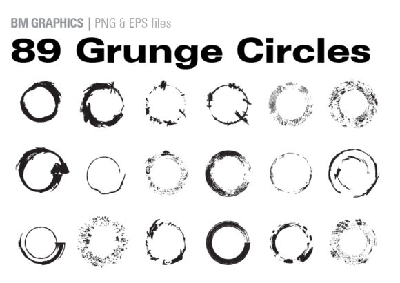 Print on Demand: 89 Grunge Circles Graphic Illustrations By GraphicsBam Fonts