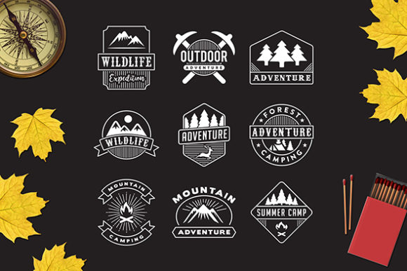 Print on Demand: 9 Adventure Badge Graphic Logos By Tosca Digital