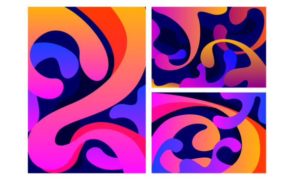 Print on Demand: Abstract Colorful Flow Shapes Background Graphic Backgrounds By Arsa Adjie