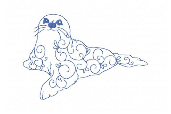 Arctic Harp Seal Wild Animals Embroidery Design By Sue O'Very Designs