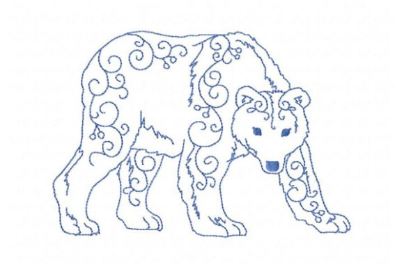 Arctic Polar Bear Wild Animals Embroidery Design By Sue O'Very Designs