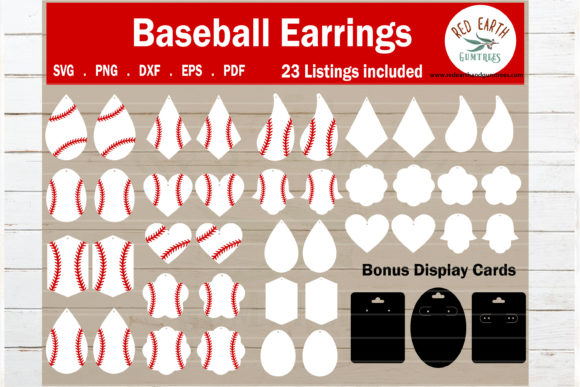 Baseball Faux Earrings Template  Graphic Crafts By redearth and gumtrees