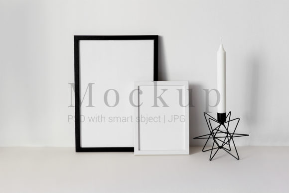 Print on Demand: Black and White Photo Frame Mockup Graphic Product Mockups By PawMockup