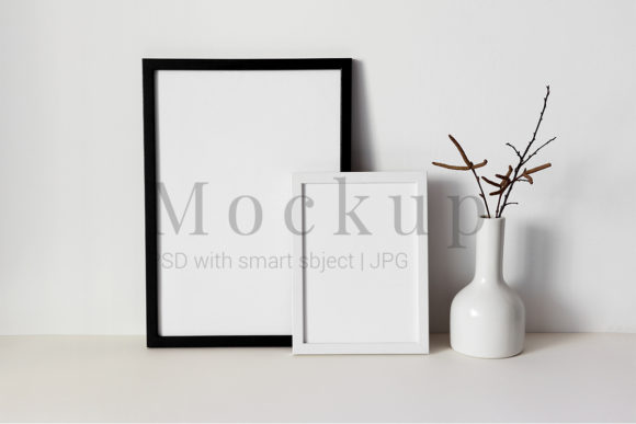 Print on Demand: Black and White Photo Frame Mockups Graphic Product Mockups By PawMockup