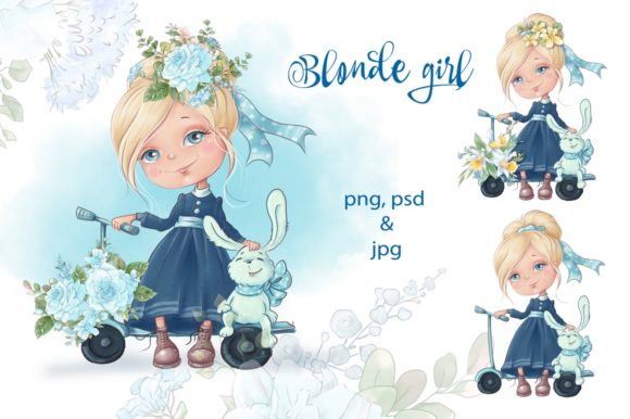 Print on Demand: Blonde Girl Grafik Illustrationen von nicjulia