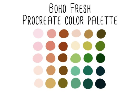 Print on Demand: Boho Fresh Procreate Color Palette Graphic Add-ons By RoughDraftDesign