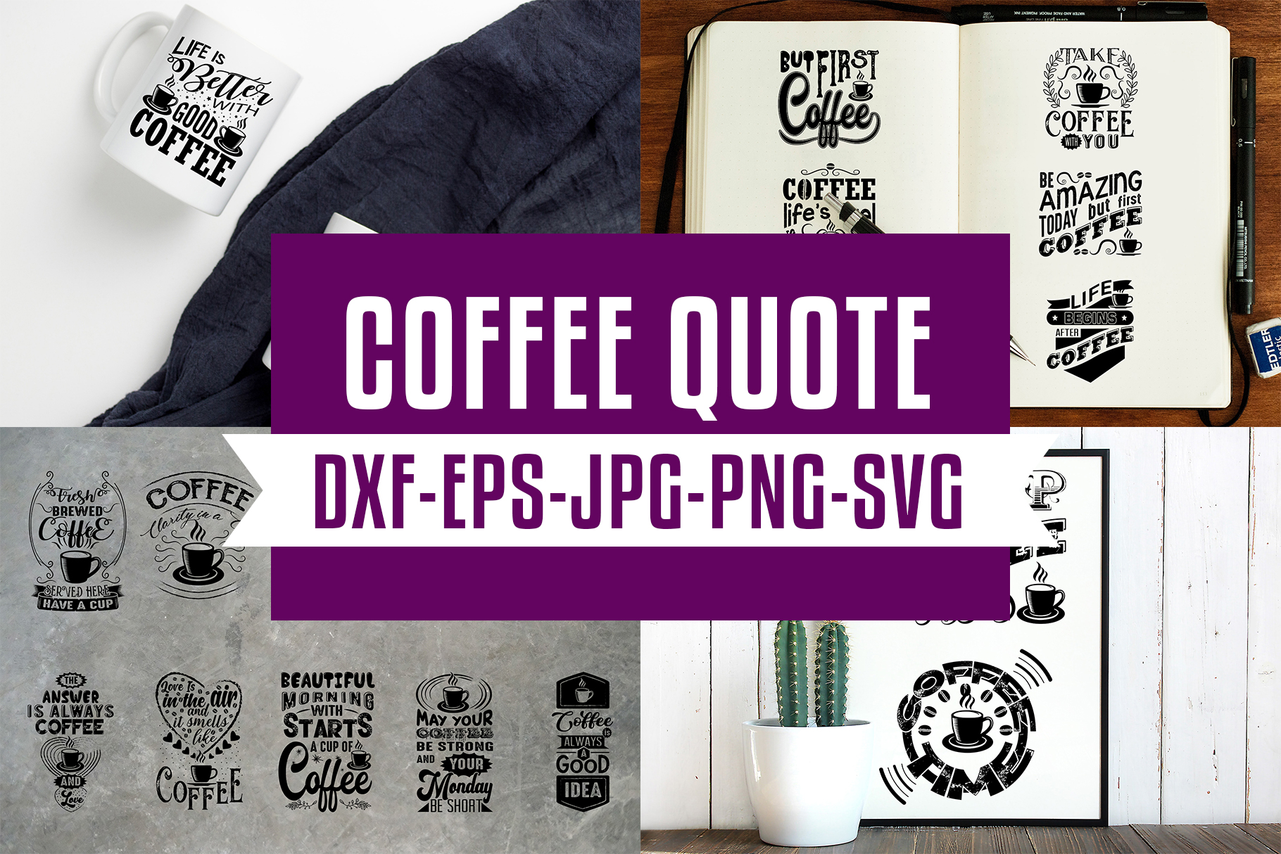Download Free Coffee Quotes V5 Black Graphic By Tosca Digital Creative Fabrica for Cricut Explore, Silhouette and other cutting machines.