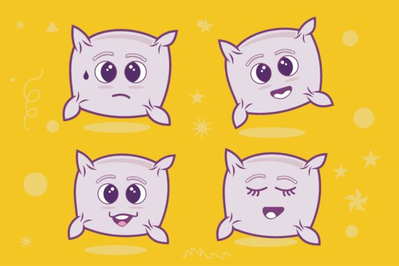 Cute Cartoon Pillow Graphic Illustrations By edywiyonopp
