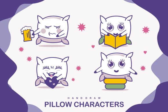 Cute Pillow Characters Graphic Illustrations By edywiyonopp