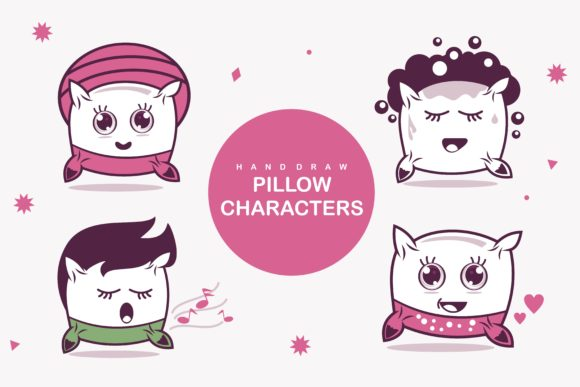 Print on Demand: Cute Pillow Characters Graphic Illustrations By edywiyonopp