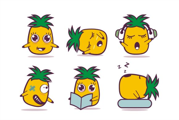 Cute Pineapple Cartoon Character Graphic Illustrations By edywiyonopp