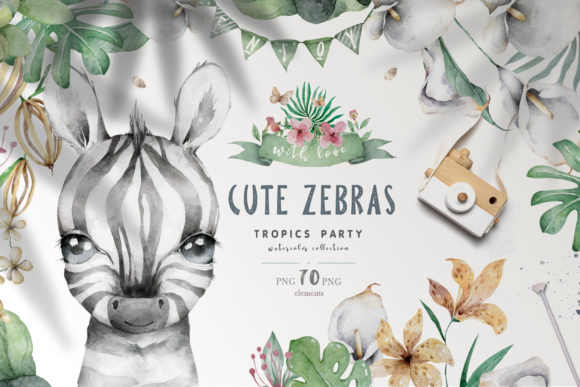 Cute Zebras Watercolor Jungle Graphic Illustrations By AnnArtHouze - Image 1