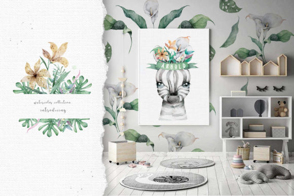 Cute Zebras Watercolor Jungle Graphic Illustrations By AnnArtHouze - Image 10