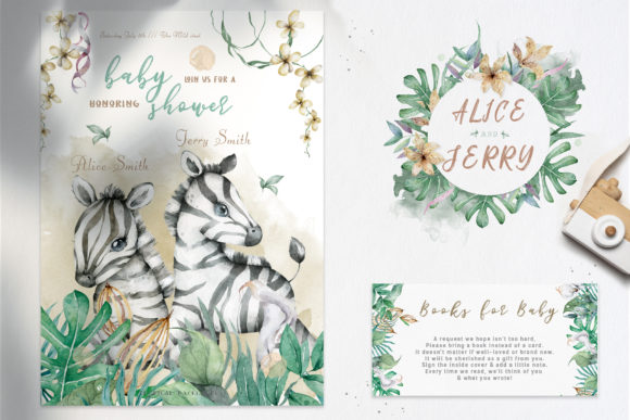 Cute Zebras Watercolor Jungle Graphic Illustrations By AnnArtHouze - Image 12