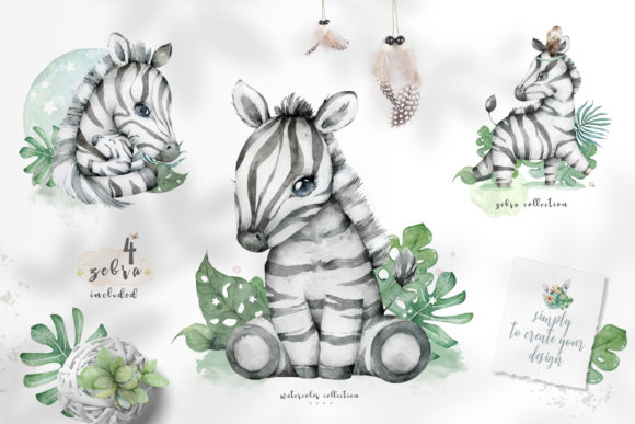 Cute Zebras Watercolor Jungle Graphic Illustrations By AnnArtHouze - Image 2