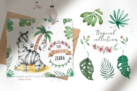 Cute Zebras Watercolor Jungle Graphic Illustrations By AnnArtHouze - Image 3