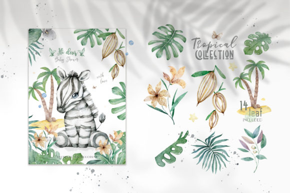 Cute Zebras Watercolor Jungle Graphic Illustrations By AnnArtHouze - Image 4