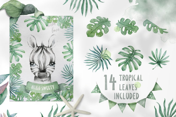 Cute Zebras Watercolor Jungle Graphic Illustrations By AnnArtHouze - Image 5