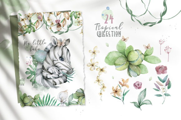 Cute Zebras Watercolor Jungle Graphic Illustrations By AnnArtHouze - Image 7