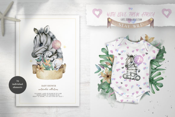 Cute Zebras Watercolor Jungle Graphic Illustrations By AnnArtHouze - Image 9