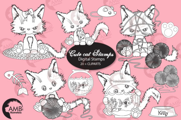 Cutie Cat Digital Stamps Graphic Illustrations By AMBillustrations