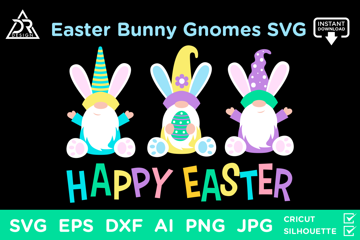 Download Free Easter Bunny Gnomes Graphic By Davidrockdesign Creative Fabrica for Cricut Explore, Silhouette and other cutting machines.