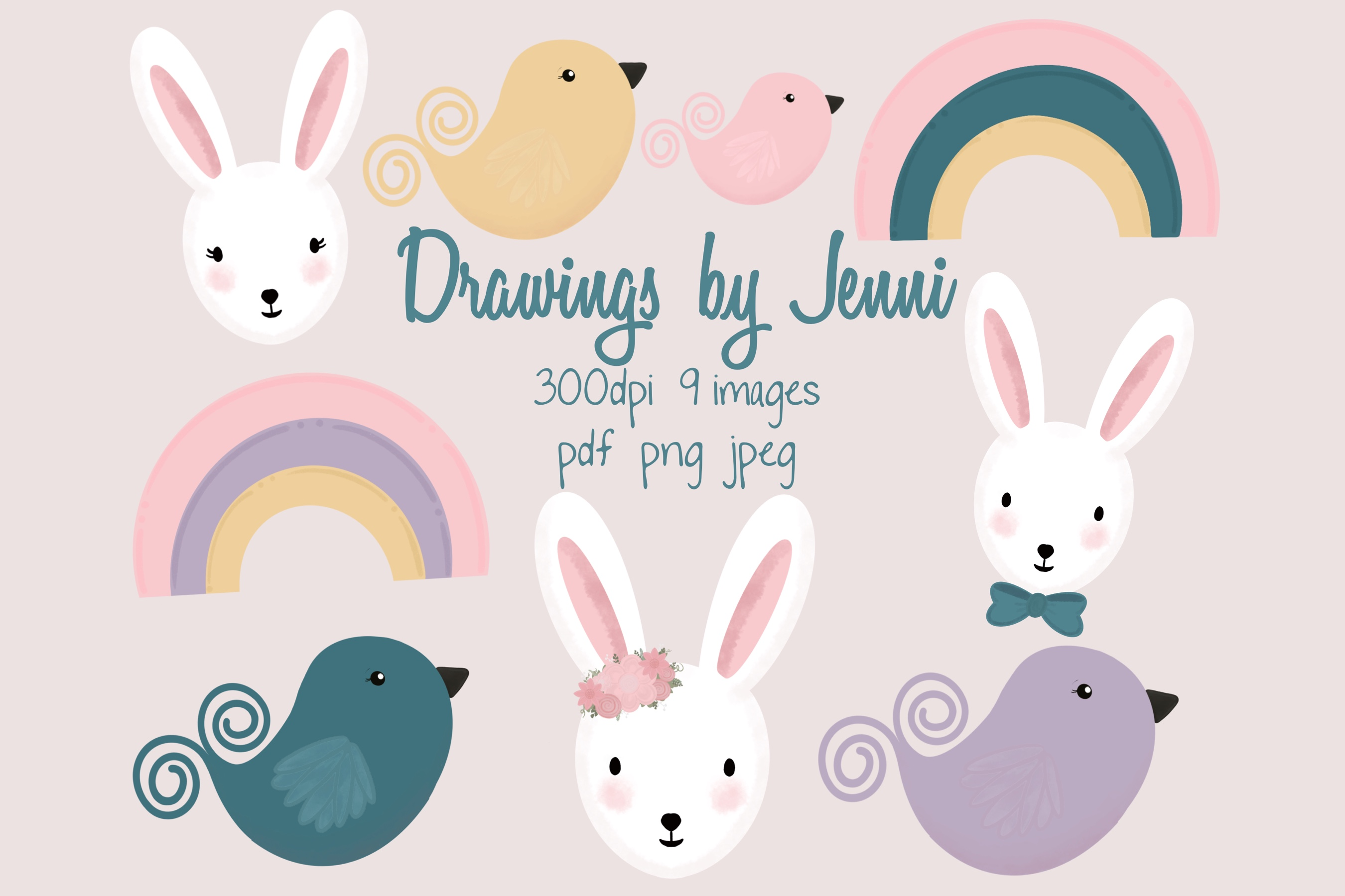 Download Free Easter Bunny Rainbows And Birds Set Graphic By Drawingsbyjenni for Cricut Explore, Silhouette and other cutting machines.