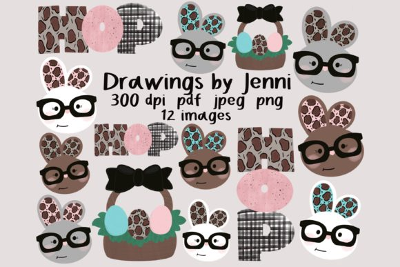Download Free Easter Bunny With Glasses Clipart Graphic By Drawingsbyjenni for Cricut Explore, Silhouette and other cutting machines.