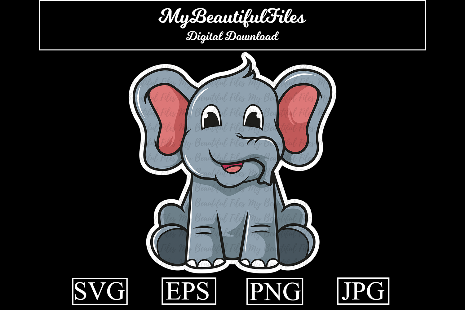 Download Free Elephant Cartoon Illustration Graphic By Mybeautifulfiles for Cricut Explore, Silhouette and other cutting machines.