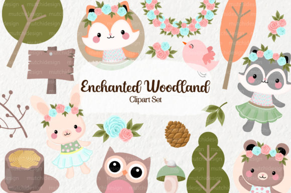 Print on Demand: Enchanted Woodland Clipart Set Graphic Illustrations By Mutchi Design