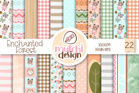 Print on Demand: Enchanted Woodland Digital Papers Graphic Patterns By Mutchi Design