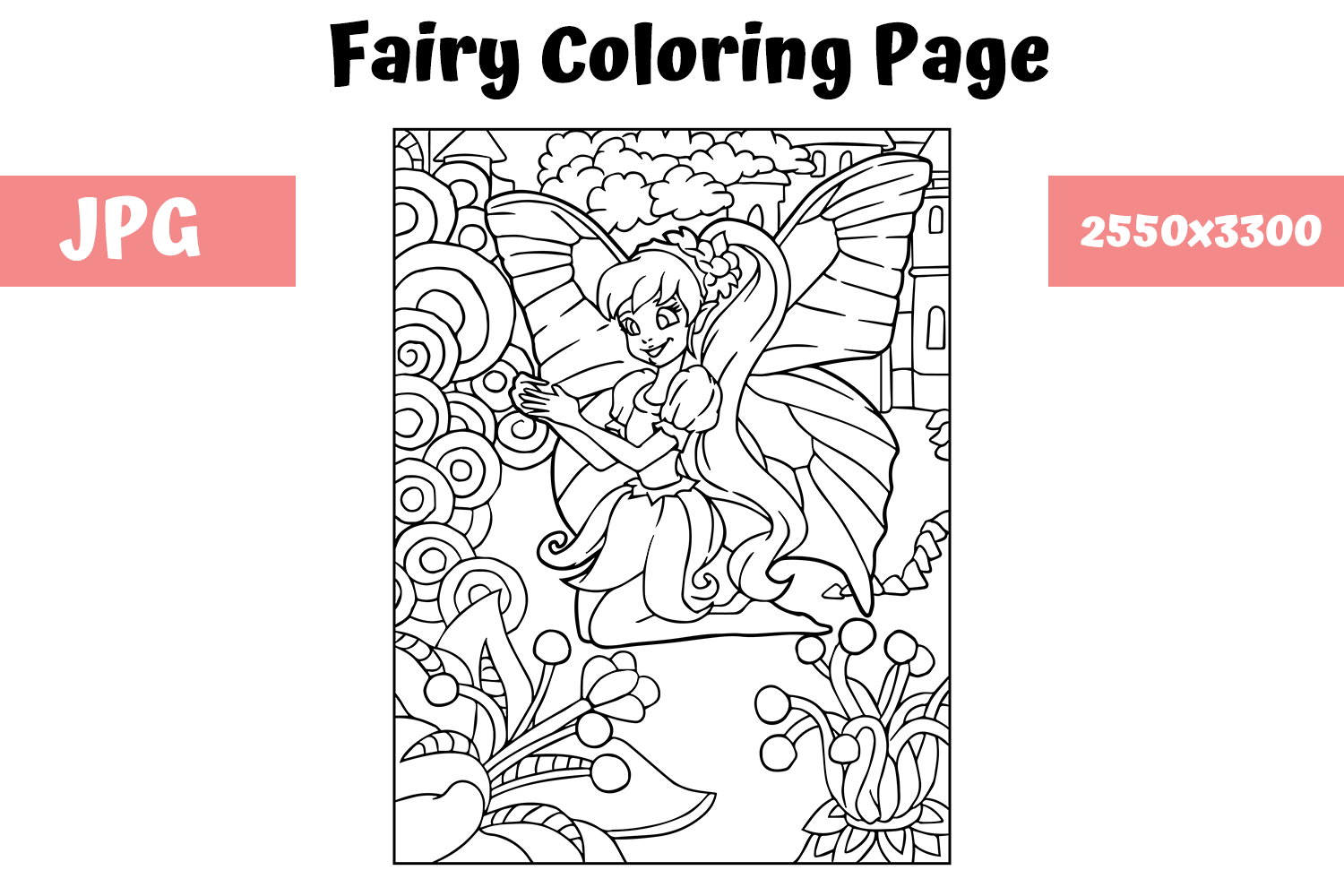 Download Free Fairy Coloring Page For Kids Graphic By Mybeautifulfiles for Cricut Explore, Silhouette and other cutting machines.