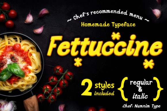 Print on Demand: Fettuccine Display Font By numnim