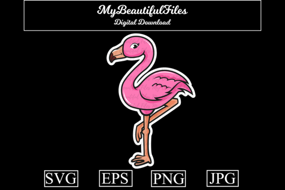 Download Free Flamingo Cartoon Illustration Graphic By Mybeautifulfiles for Cricut Explore, Silhouette and other cutting machines.