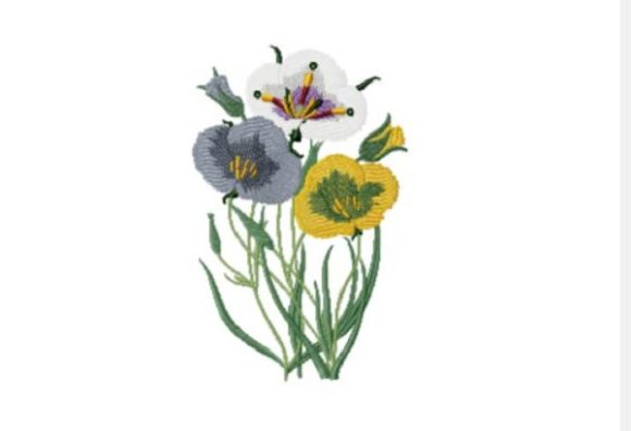 Floral Single Flowers & Plants Embroidery Design By Red Moon Gardens - Image 1