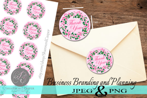 Print on Demand: Floral Wreath Thank You Sticker Cut File Graphic Illustrations By Shannon Casper