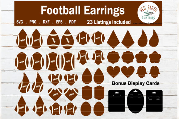 Football Faux Earrings Template  Graphic Crafts By redearth and gumtrees