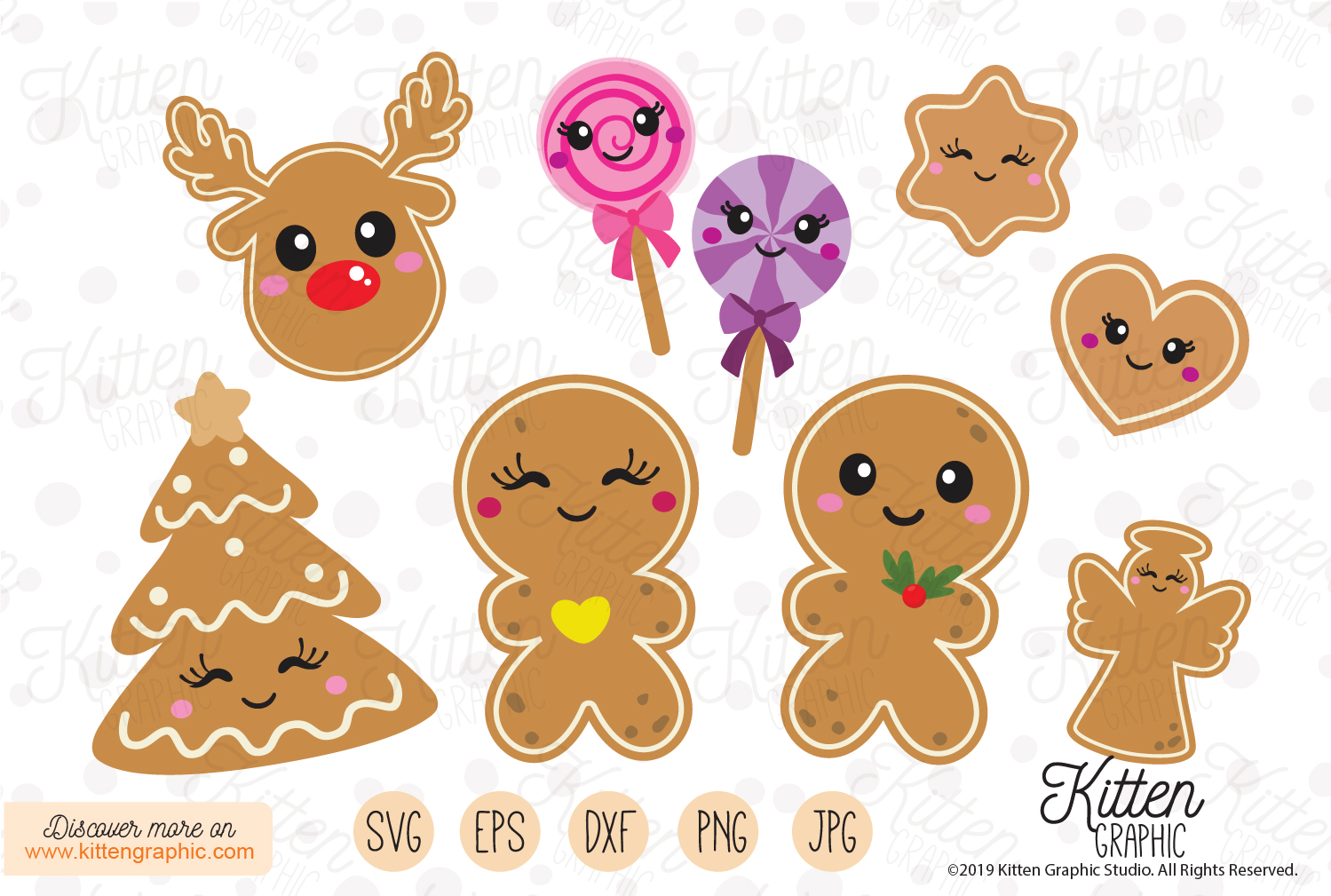 Download Free Gingerbread Christmas Set Graphic By Kittengraphicstudio for Cricut Explore, Silhouette and other cutting machines.