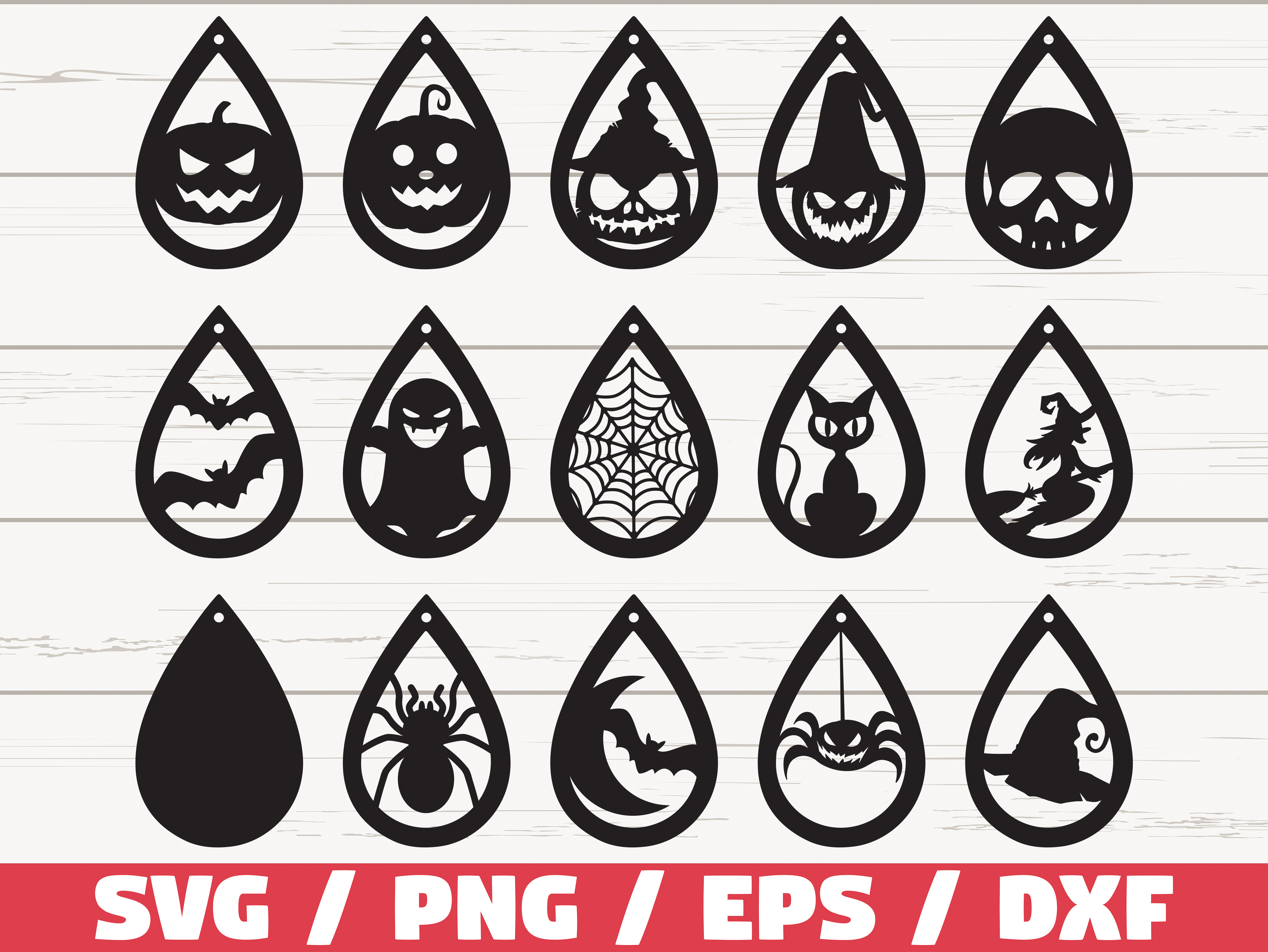 Download Free Halloween Earrings Cut Files Graphic By Zecworkshop Creative for Cricut Explore, Silhouette and other cutting machines.