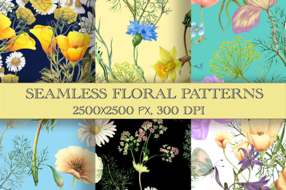 Hand Drawn Watercolor Seamless Patterns Graphic Patterns By arevkasunshine