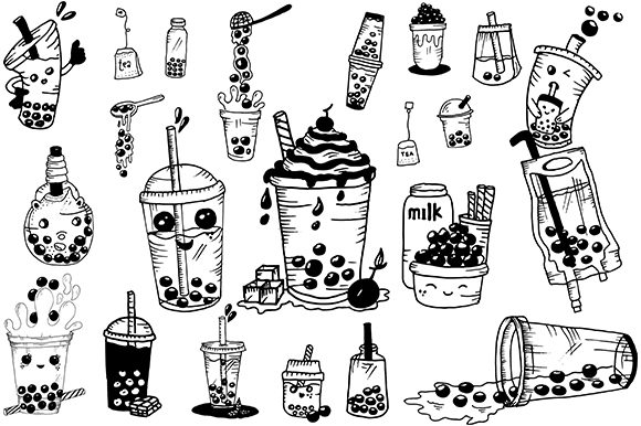 Print on Demand: Handrawn Buble Tea Graphic Illustrations By Fillo Graphic