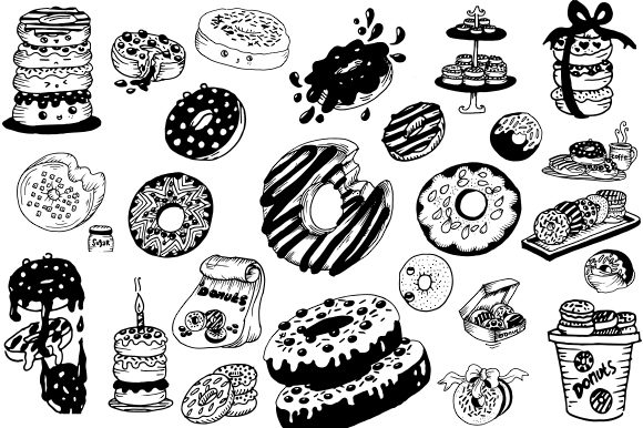 Print on Demand: Handrawn Donuts Graphic Illustrations By Fillo Graphic