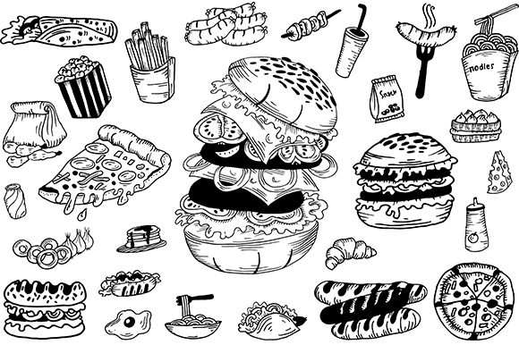 Print on Demand: Handrawn Fastfood Graphic Illustrations By Fillo Graphic